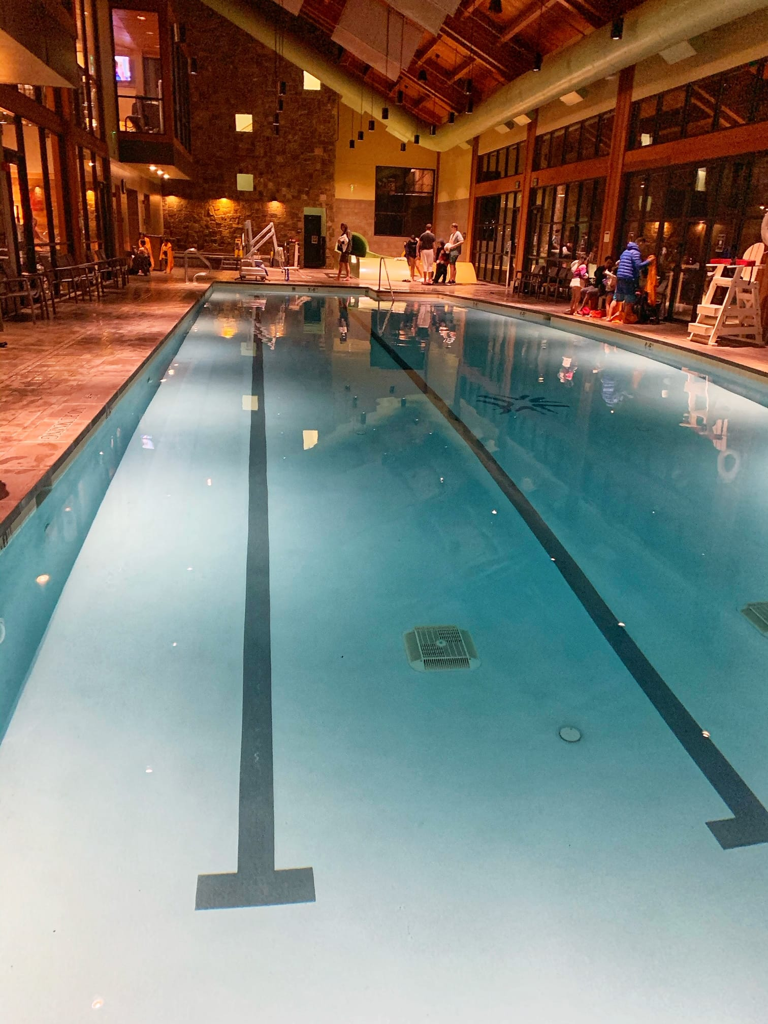 Indoor pool with waterslides at Suncadia