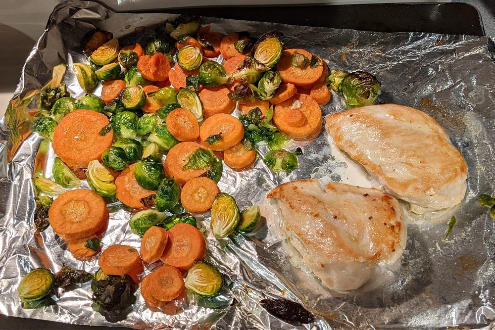 Cooked chicken & veggies sheet pan meal for Home Chef