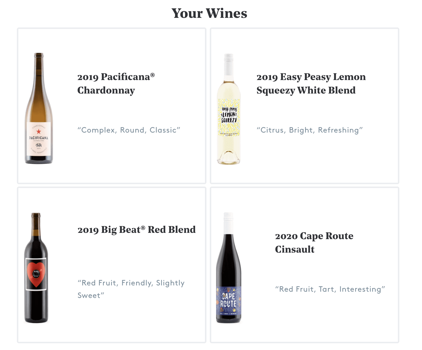 Winc Wine options