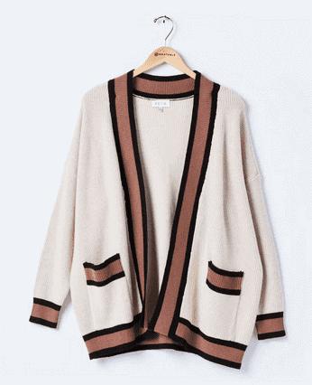 Wantable Brown & White Cardigan