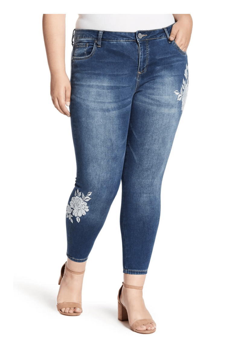 Kut from the Kloth Embroidered Jeans Plus Size