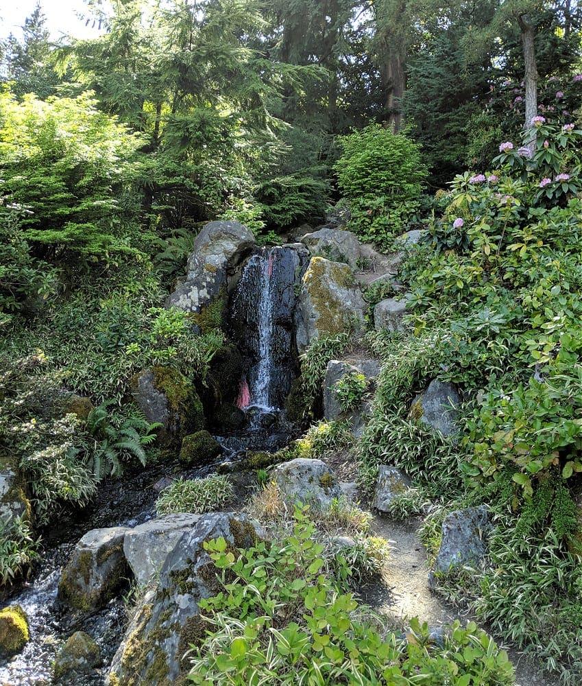 Waterfall at Kubota Garden in Seattle