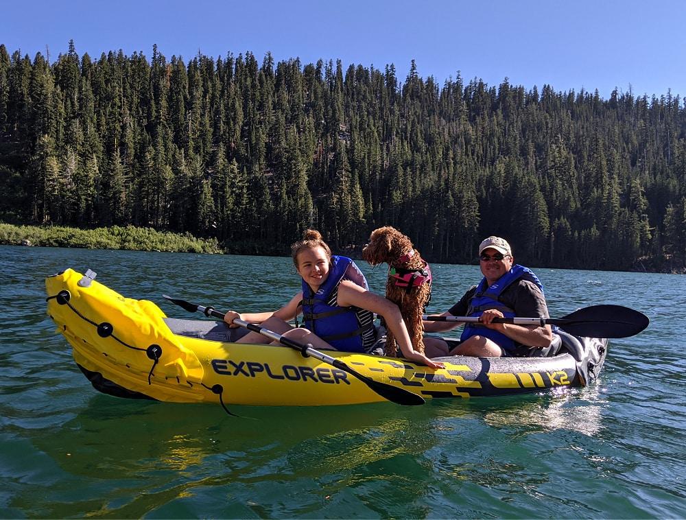 Kayaking near Lake Tahoe with Dog