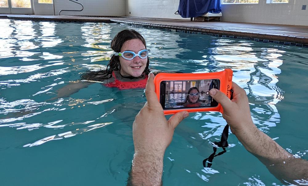 Waterproof Camera case in the Pool