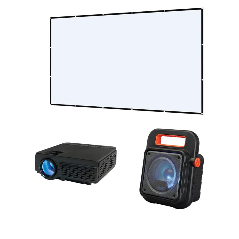 Movie projector screen and speaker set