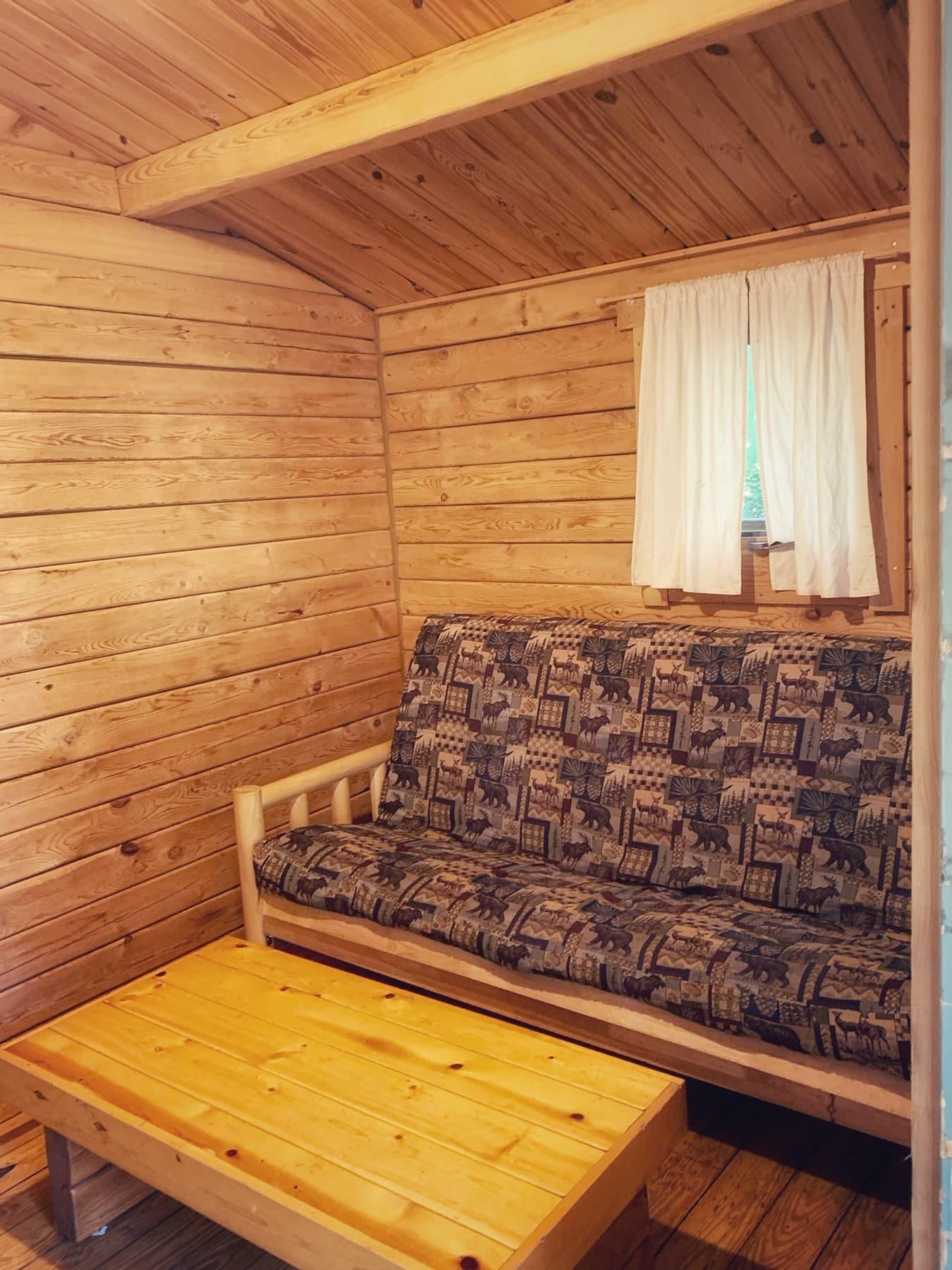 living area of rustic cabin