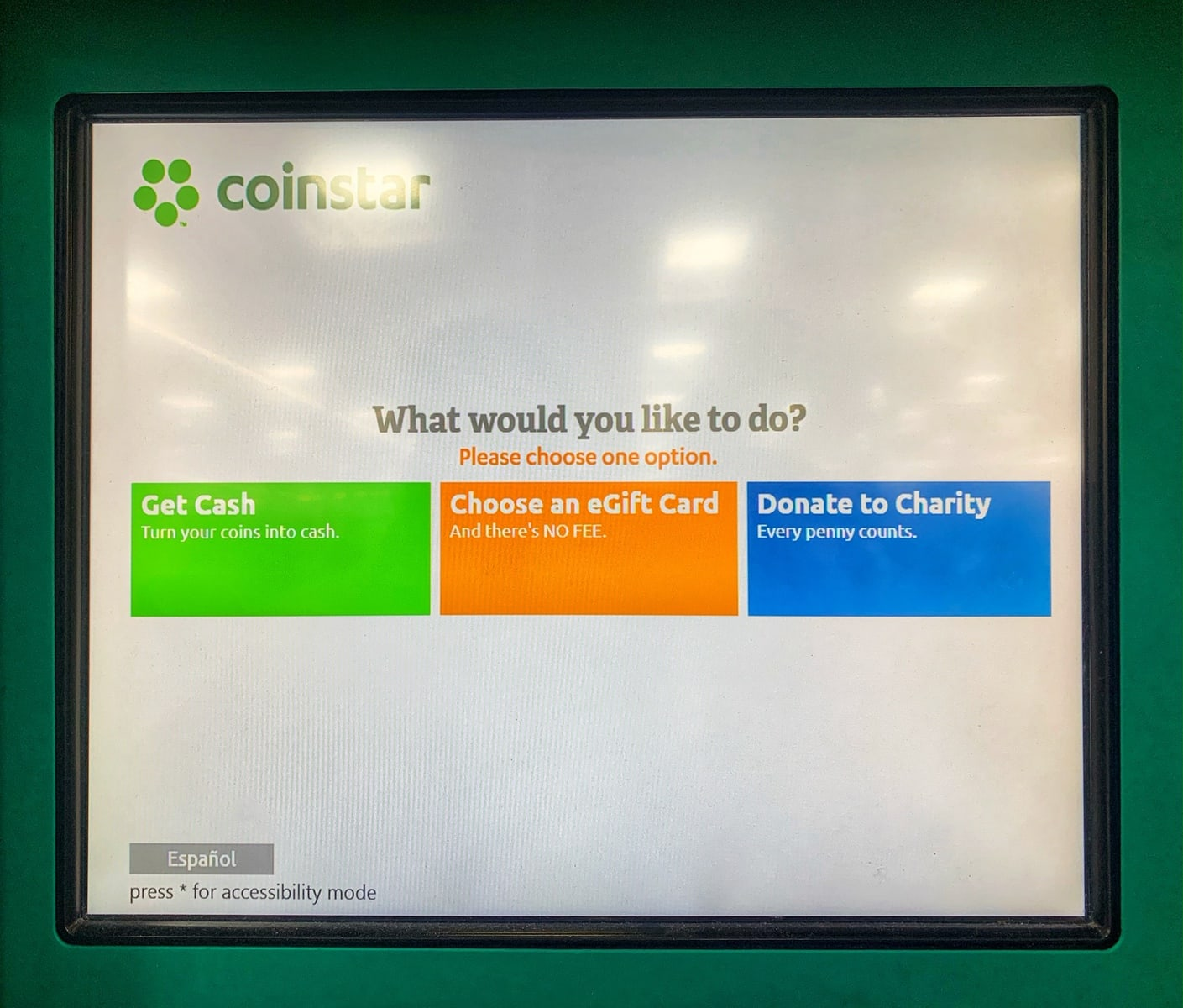 choose coinstar gift card, cash or donate