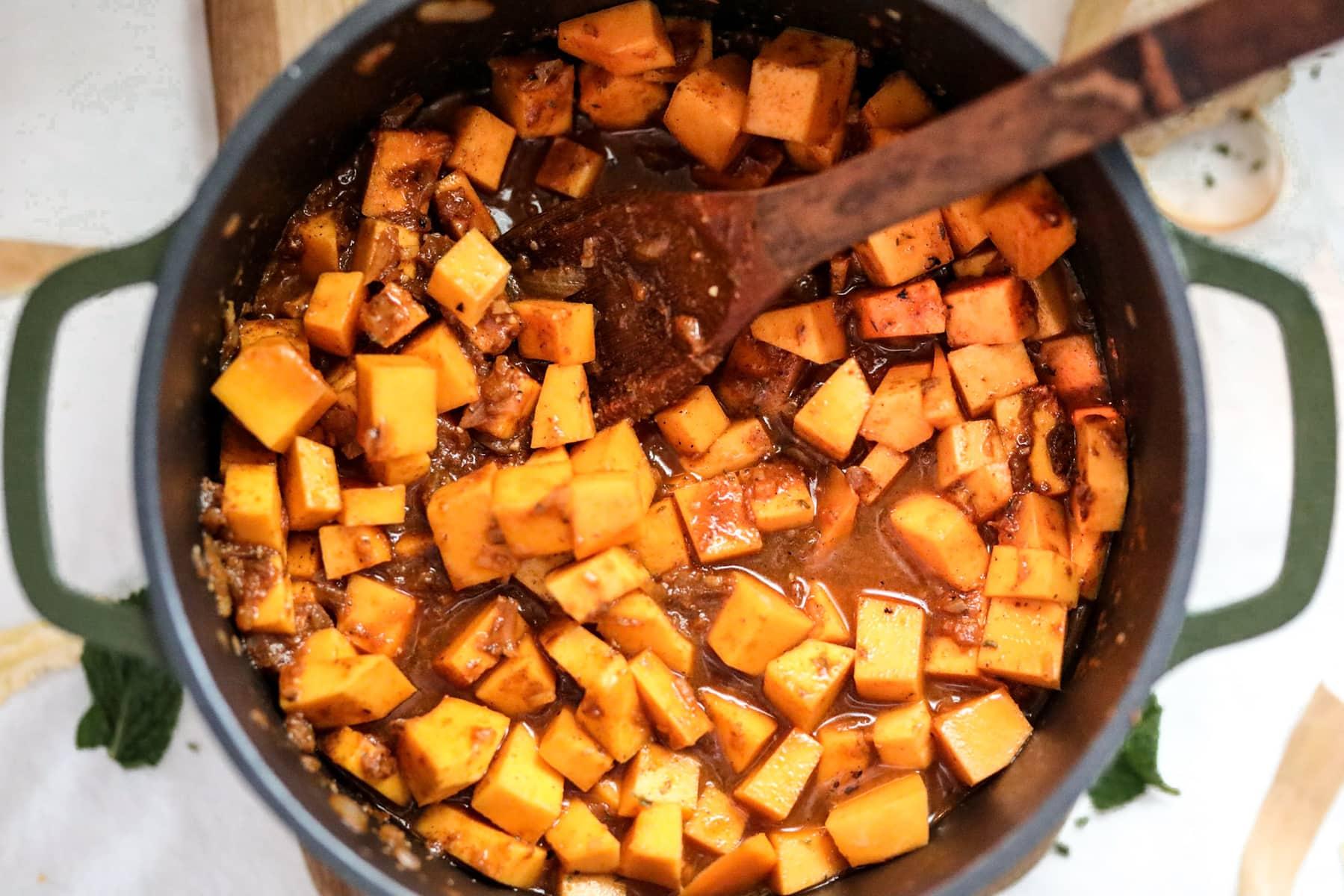 sauté butternut squash for soup