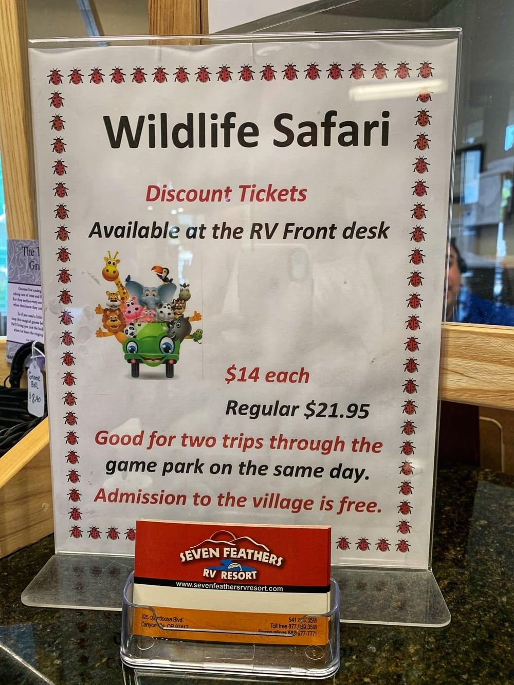 discount wildlife safari tickets