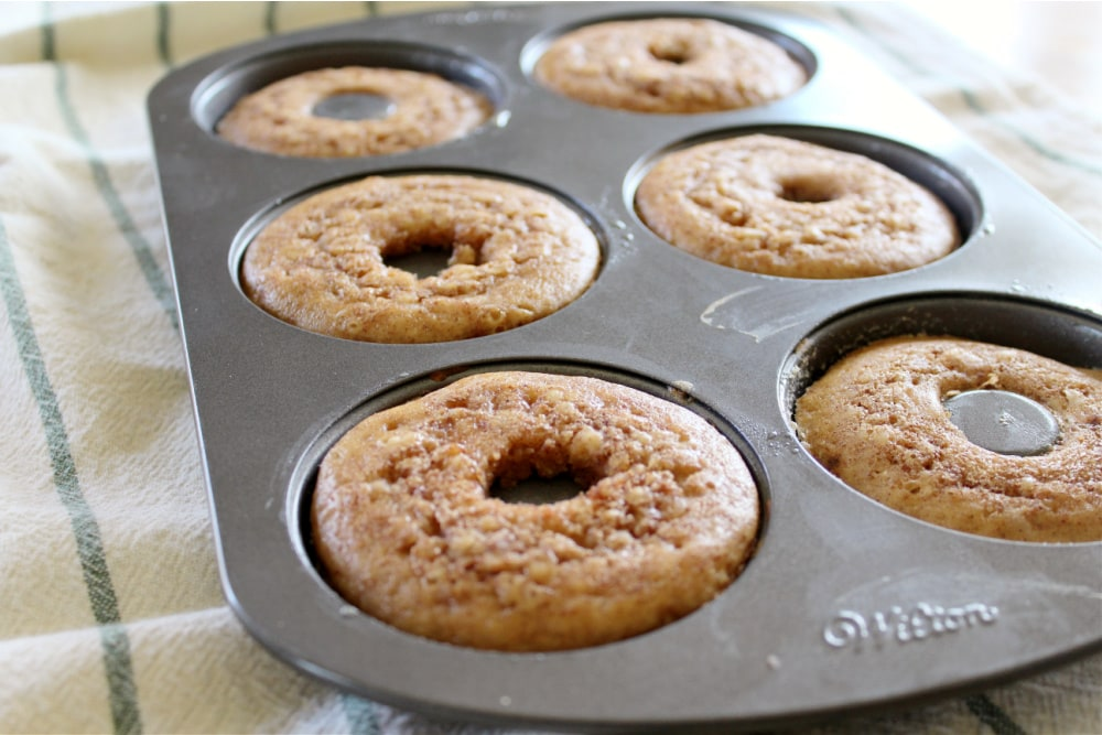 Baking the Apple Cider Donuts in Pan