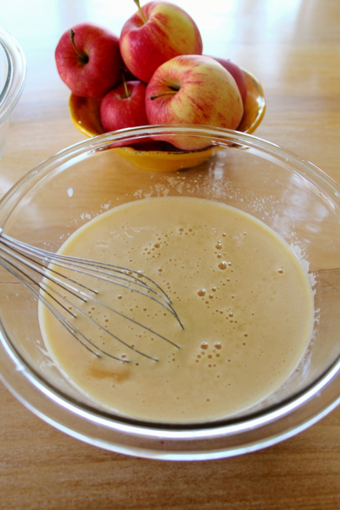 Mixing all ingredients together for Apple Cider Donuts