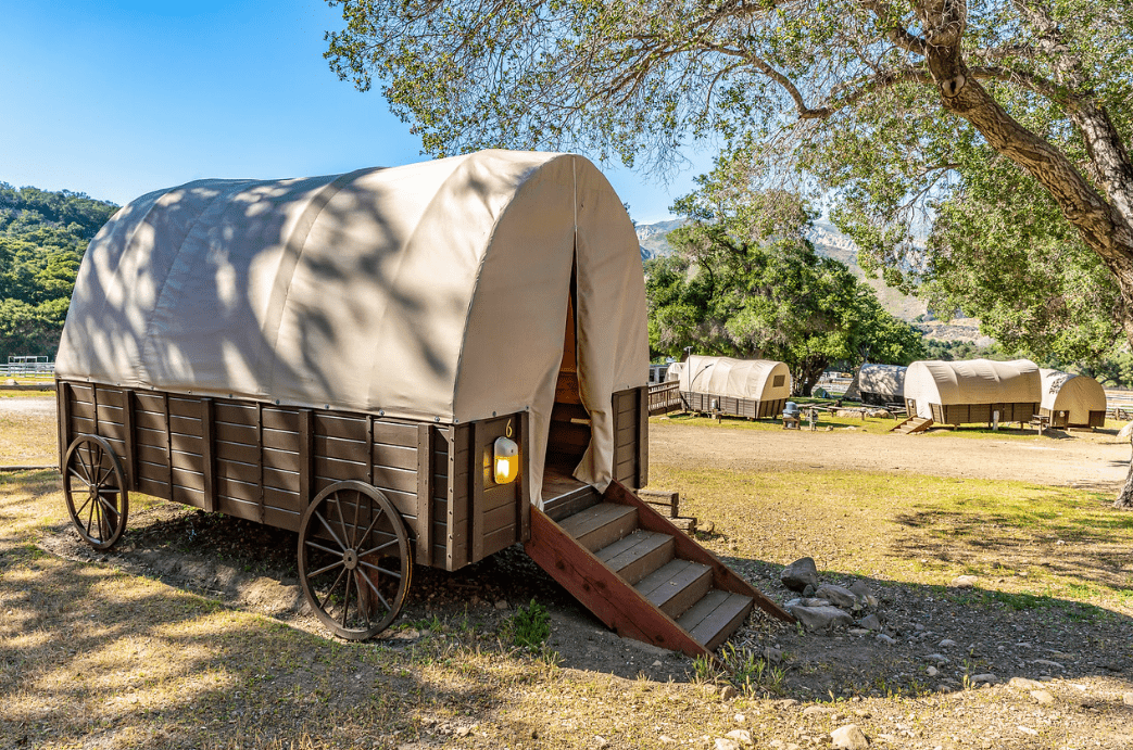 sleep in a covered wagon at Rancho Oso
