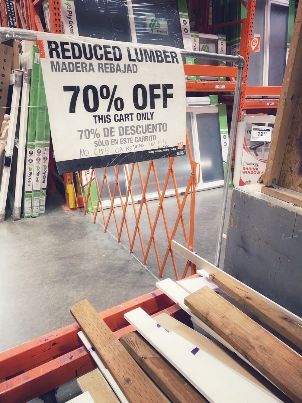 home depot clearance section