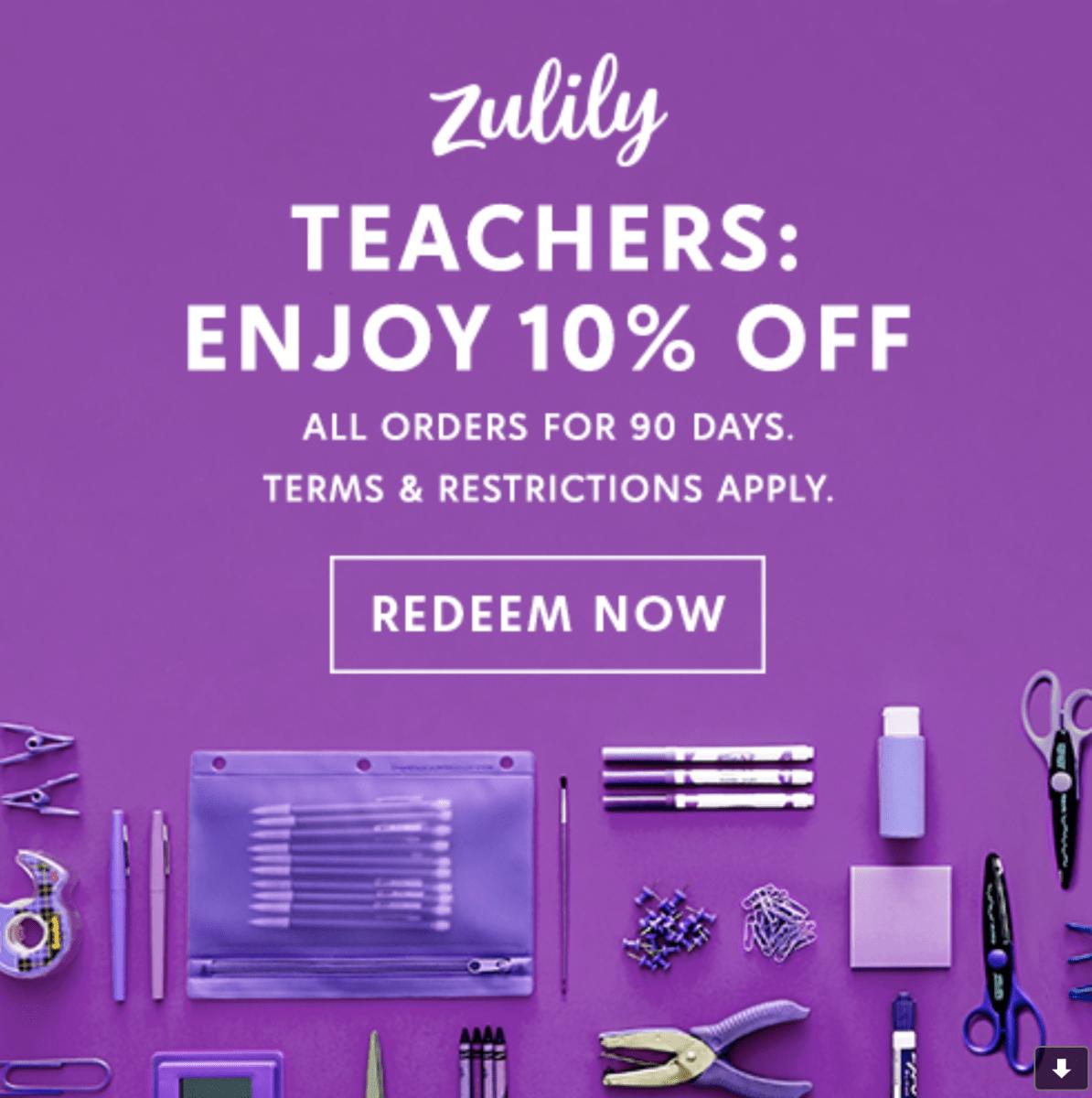 Zulily Teachers Promo