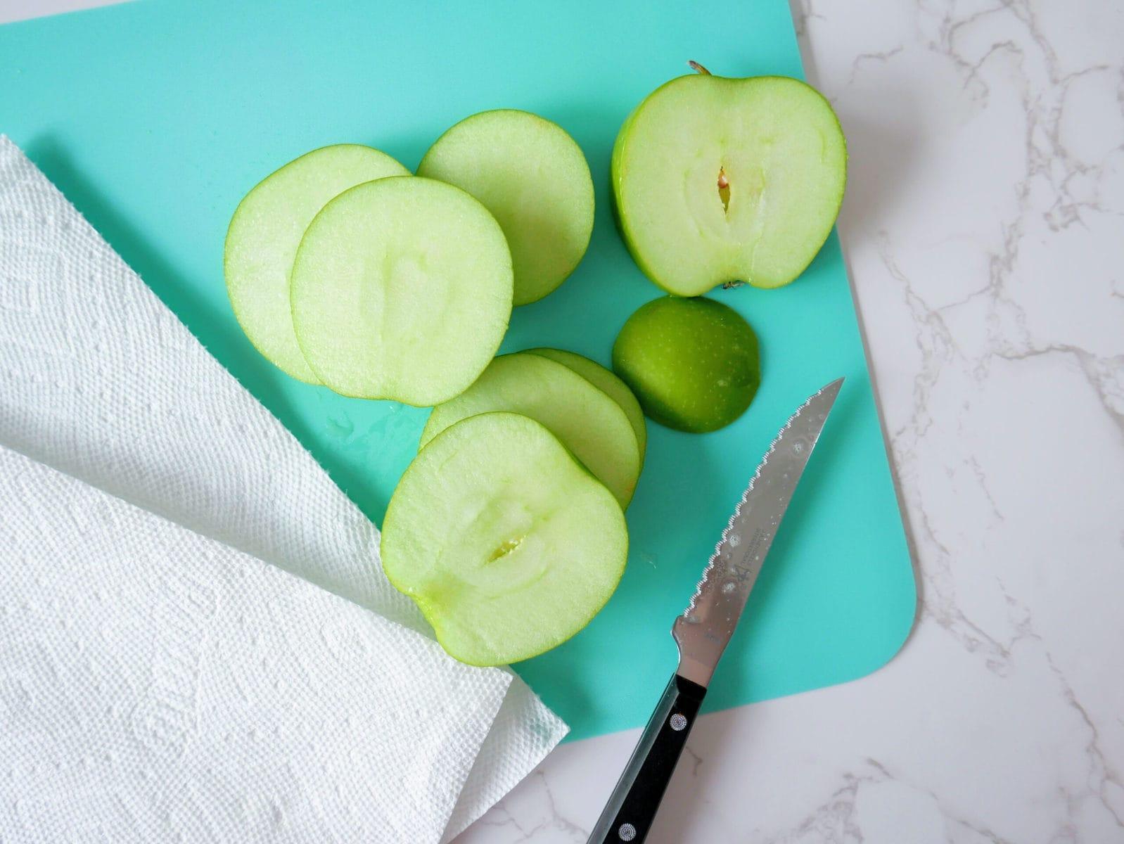 Slicing the Apple for Caramel Apple Pops